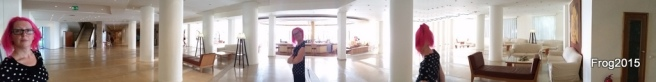 A panorama of  the hotel reception (and Sue... and Sue.. and Sue...)
